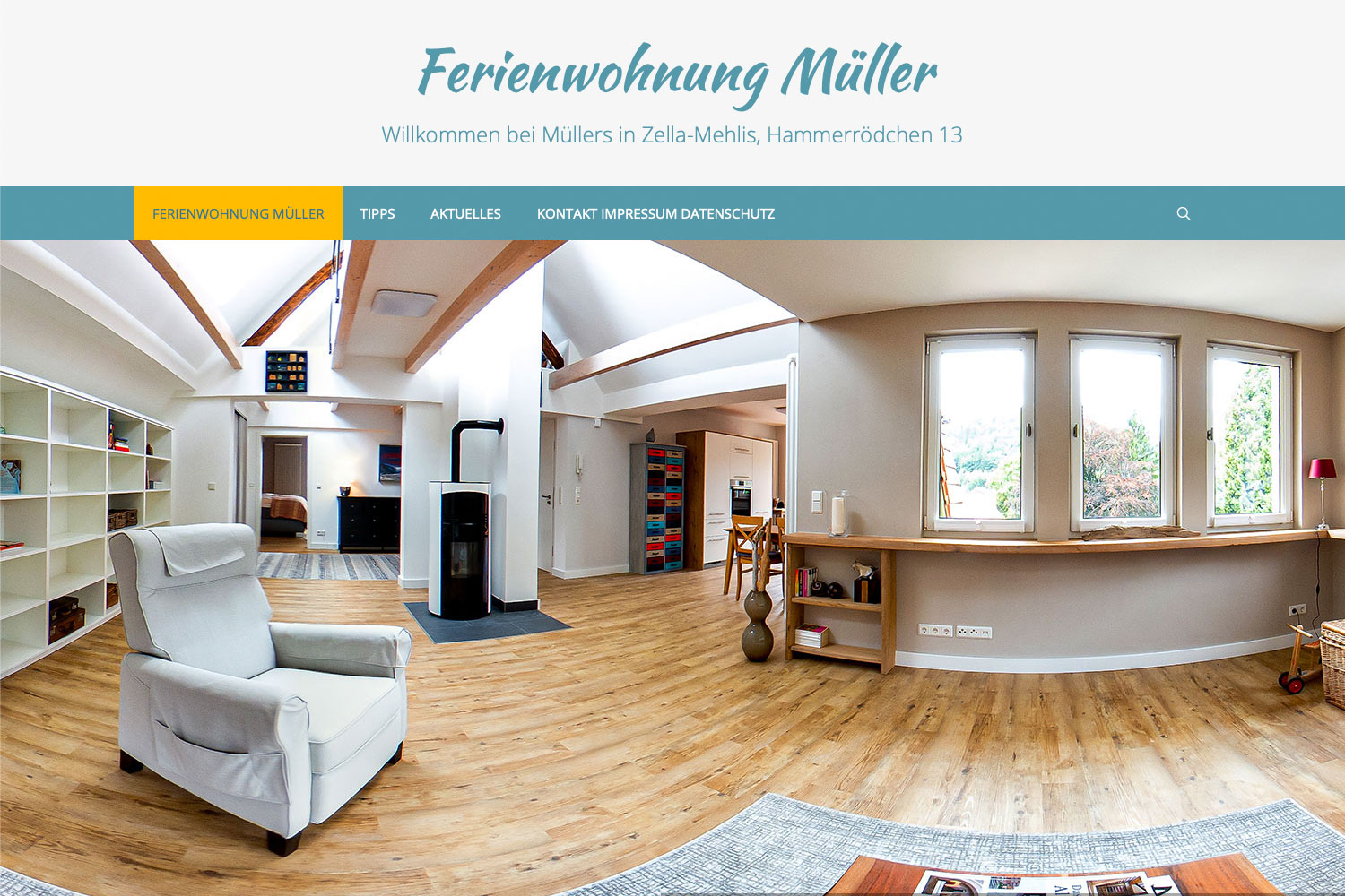 Website fewo.in-zella.mehlis.de (Webdesign: Designakut mit WordPress, Fotos: Jens Gutberlet)